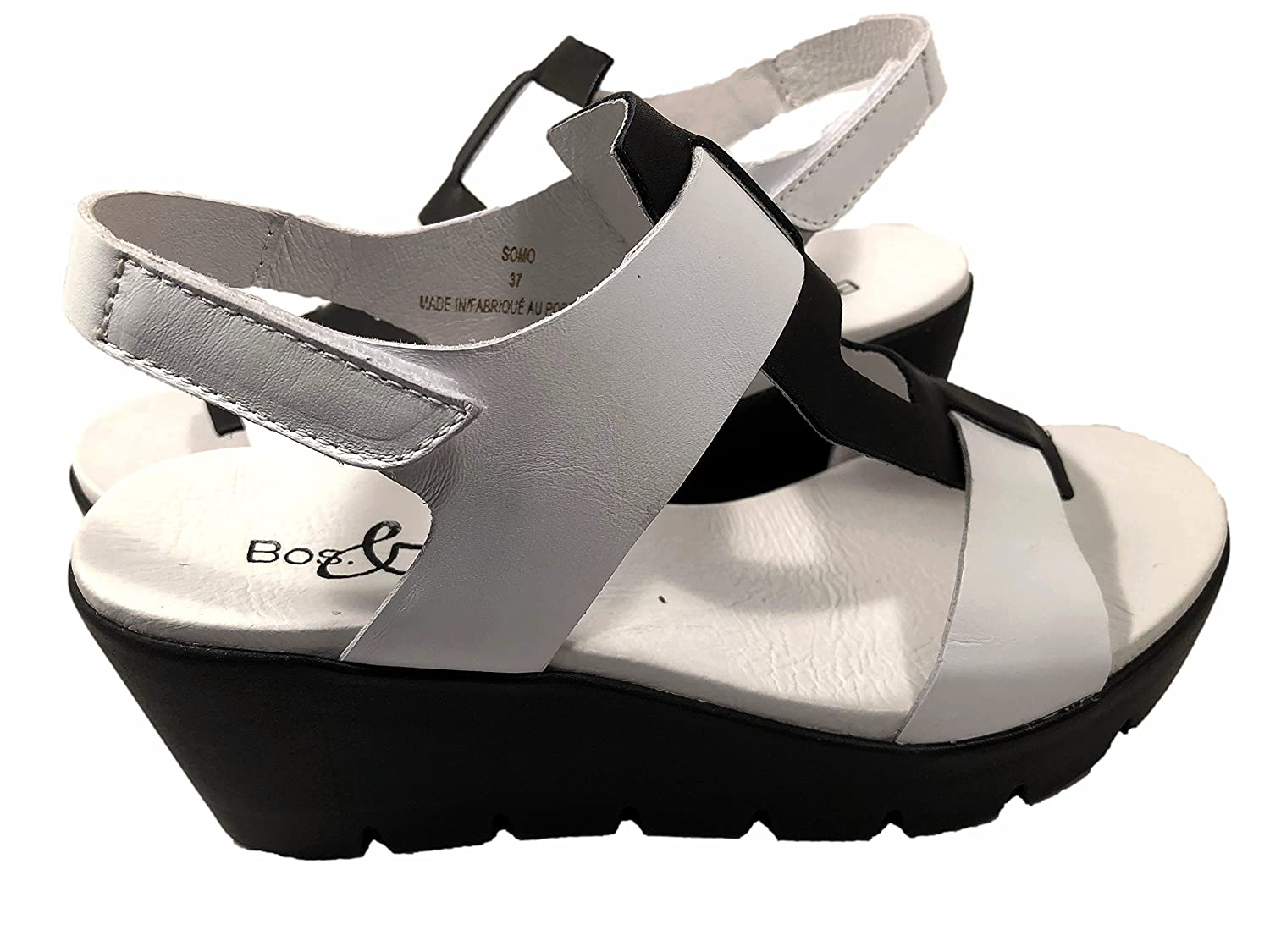 Bos. & Co. Women's Somo Wedge Sandal B075GPS77B 37 M EU (6-6.5 US)|White/Black Smooth Leather