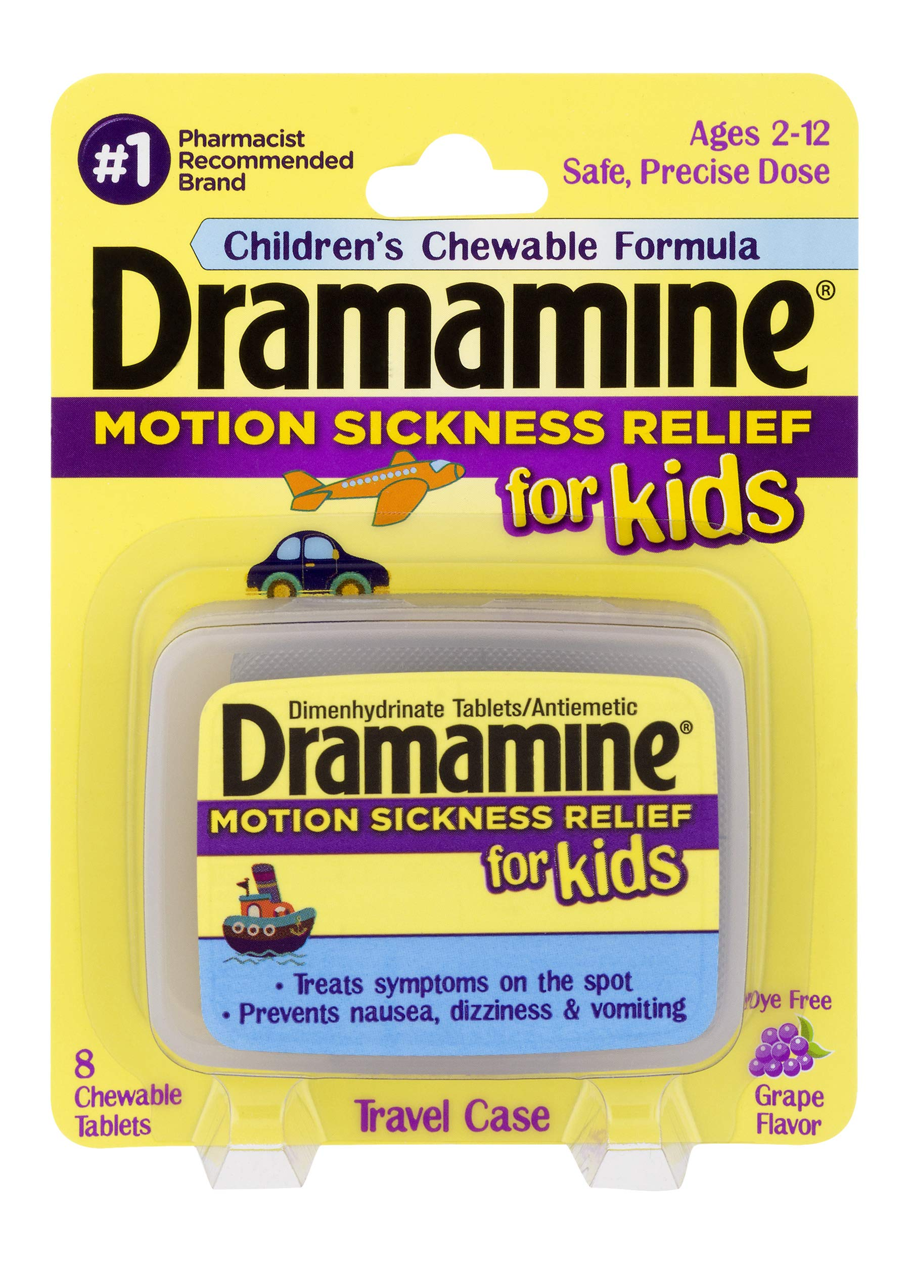 Dramamine Motion Sickness Relief for Kids | Chewable Grape | 8 Count | 6 Pack by Dramamine