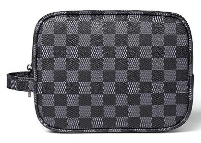 1f79fe34ad16 Amazon.com  Daisy Rose Luxury Checkered Make Up Bag