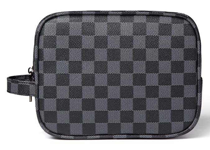 Daisy Rose Luxury Checkered Make Up Bag | PU Vegan Leather Cosmetic toiletry Travel bag