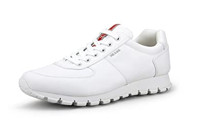2f09dd1a4ebcb5 Prada Men's Nylon Tech Trainer Sneaker, White 4E2942 (11.5 US / 10.5 ...