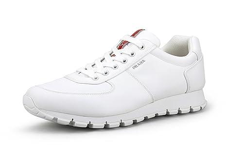 89f9d5b12a48c Amazon.com | Prada Men's Nylon Tech Trainer Sneaker, White 4E2942 ...