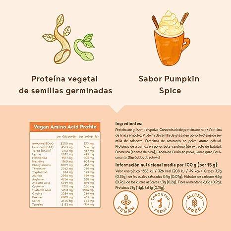 Proteina Vegana | PUMPKIN SPICE | Proteína vegetal de arroz, guisantes, semillas de lino, amaranto, semillas de girasol y semillas de calabaza ...