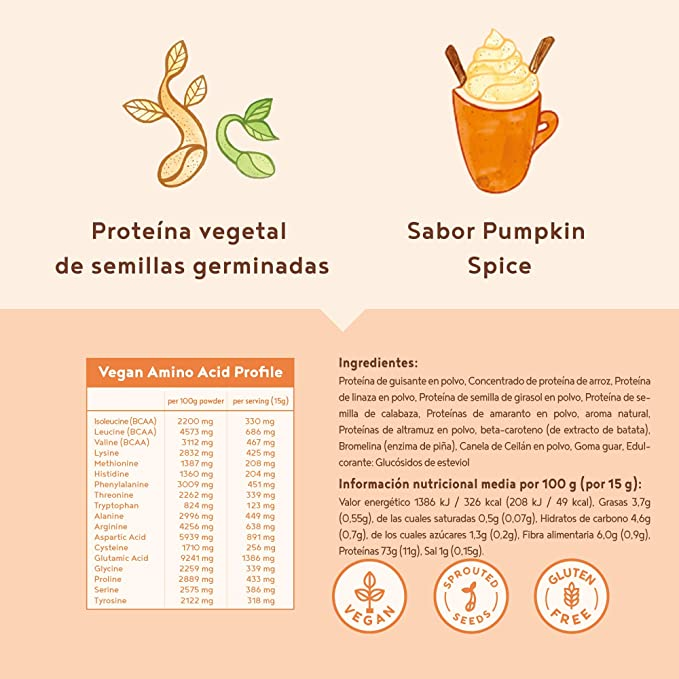 Proteina Vegana   PUMPKIN SPICE   Proteína vegetal de arroz ...