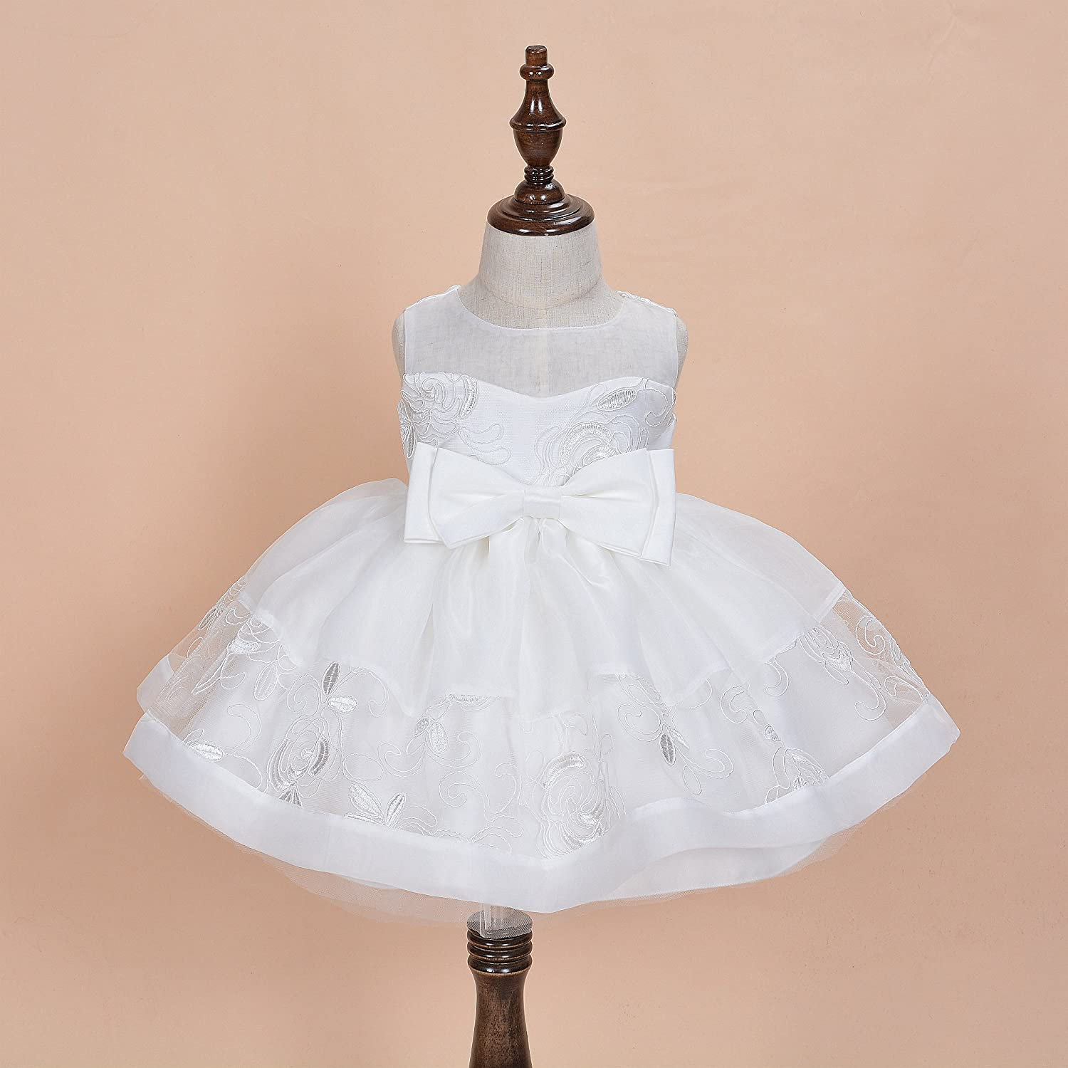 Cinda Baby Girls Lace Christening Party Dress With Bonnet