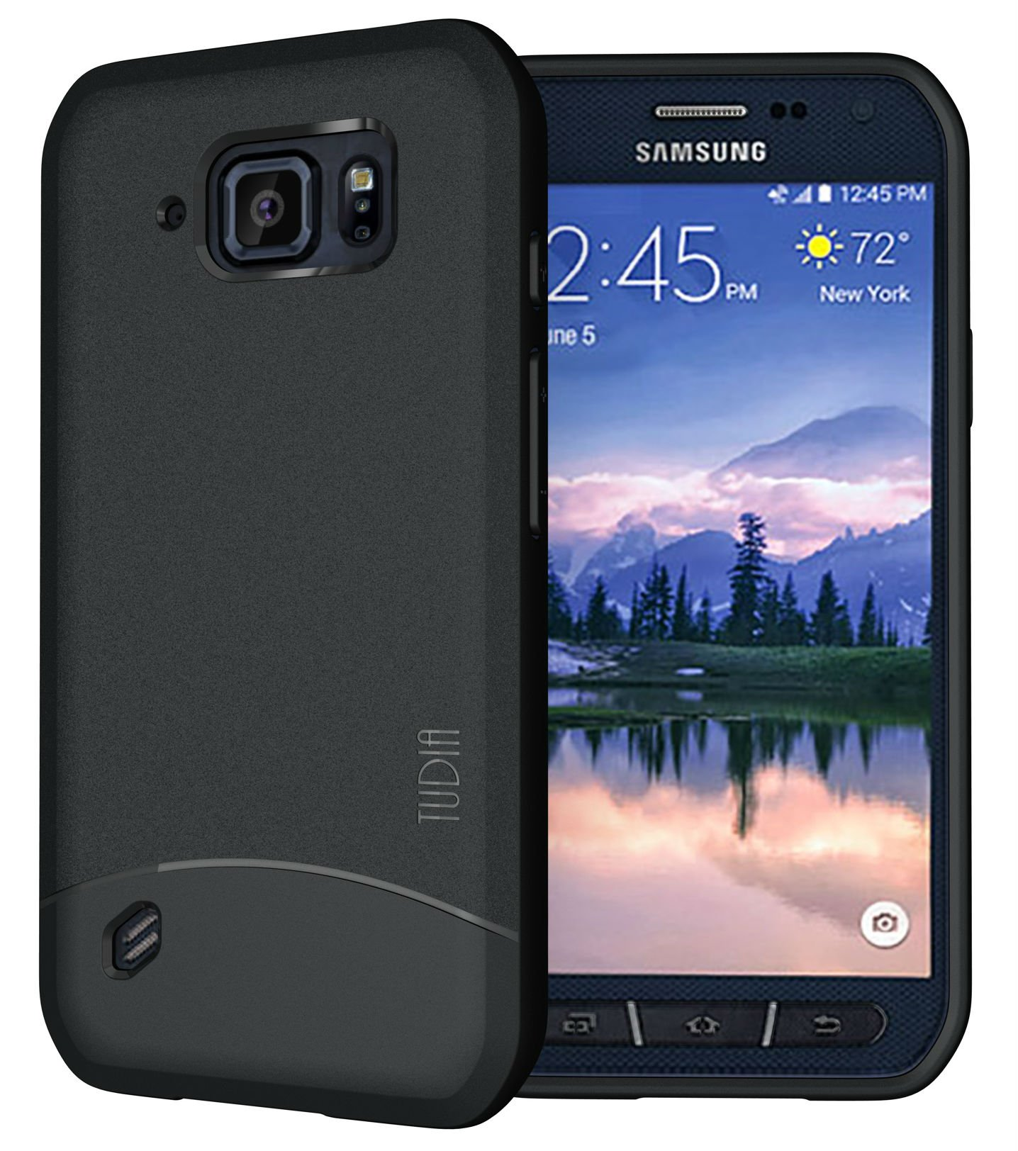 TUDIA Galaxy S6 Active Case, [Arch] Minimal Design Slim Fit Shock Absorption Lightweight TPU Bumper Protection Case Cover for Samsung Galaxy S6 Active (Black)