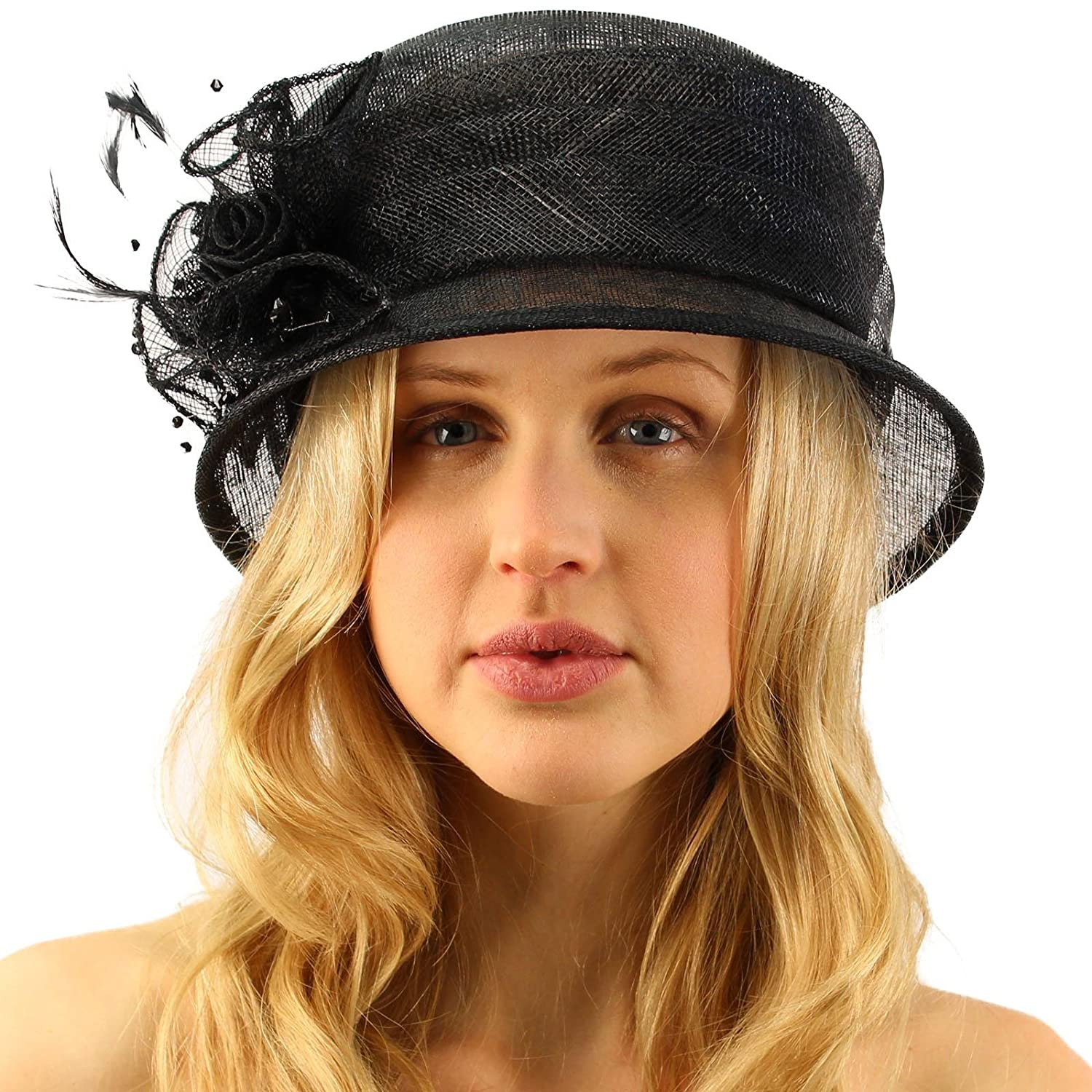 c2ad549b2e87a0 Summer Fancy 1920s Flapper Sinamay Trio Floral Cloche Bucket Church Hat  Black at Amazon Women's Clothing store: