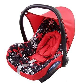 Bambiniwelt Ersatzbezug Für Maxi Cosi Cabrio Fix 6 Tlg Bezug Für Babyschale Sommerbezug Rot Mit Rot Weissen Blumen Baby
