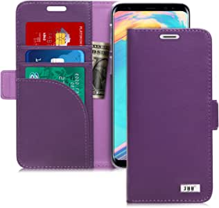 FYY [Genuine Leather Wallet Case for Samsung Galaxy S9 2018, Handmade Flip Folio Wallet Case with Kickstand Card Slots Magnetic Closure for Samsung Galaxy S9 2018 Purple