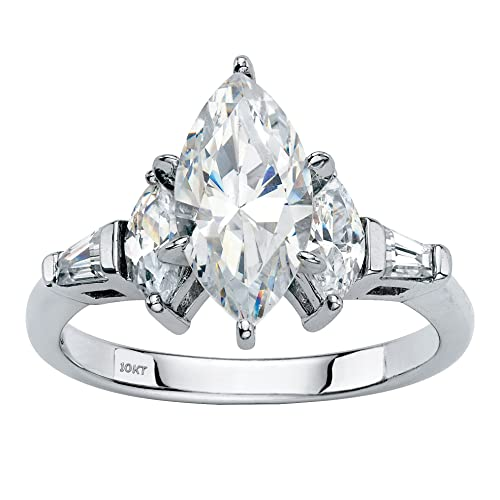 10K White Gold Marquise Cut Cubic Zirconia Engagement Ring with Baguette Accents