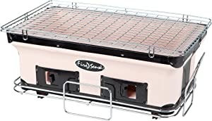 Fire Sense Large Rectangle Yakatori Charcoal Grill | Japanese Ceramic Clay Grill | Tabletop Grill for Backyard, Outdoor Cooking, Camping