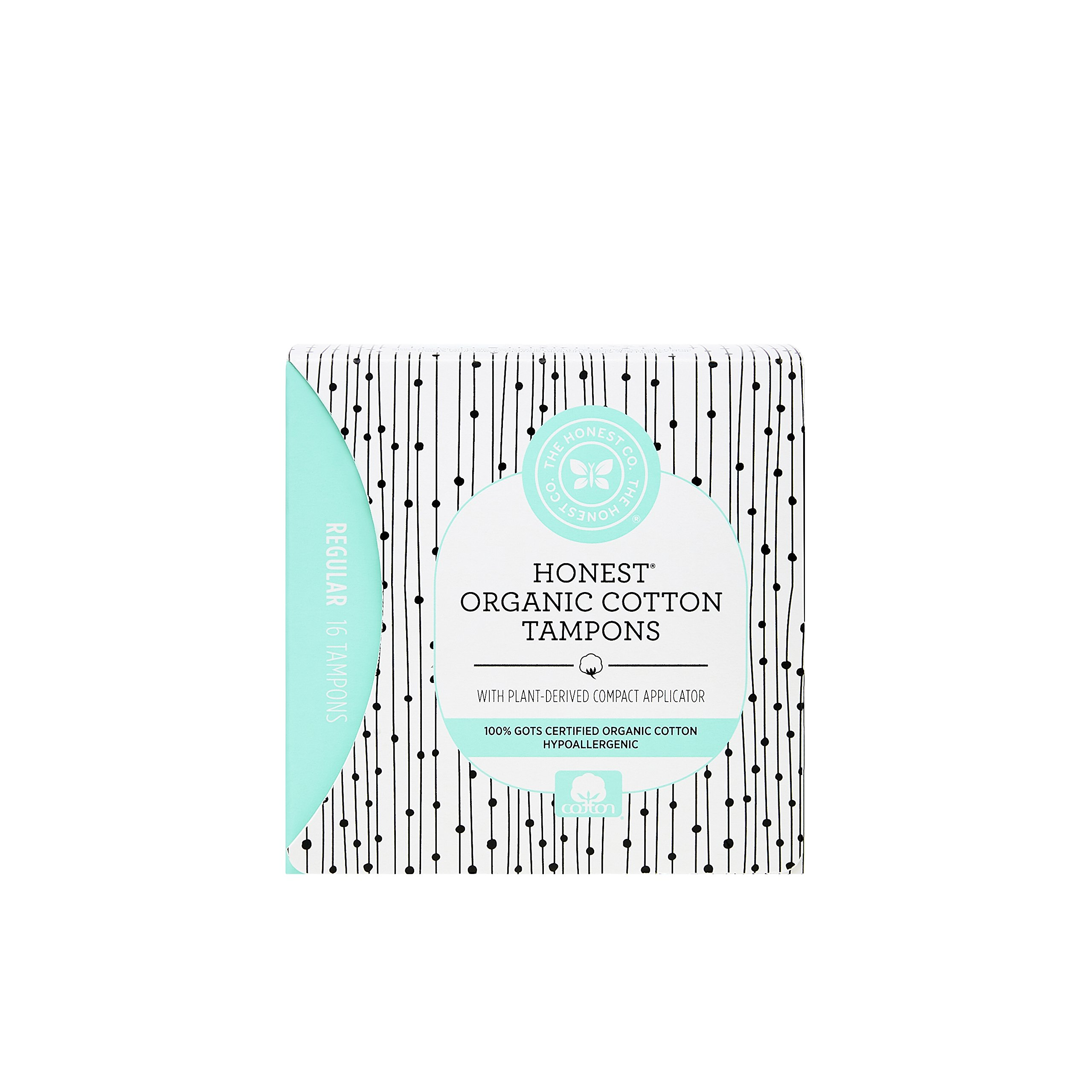 The Honest Company Organic Cotton Tampons with Plant-Based Compact Applicator, Regular, 16 Count