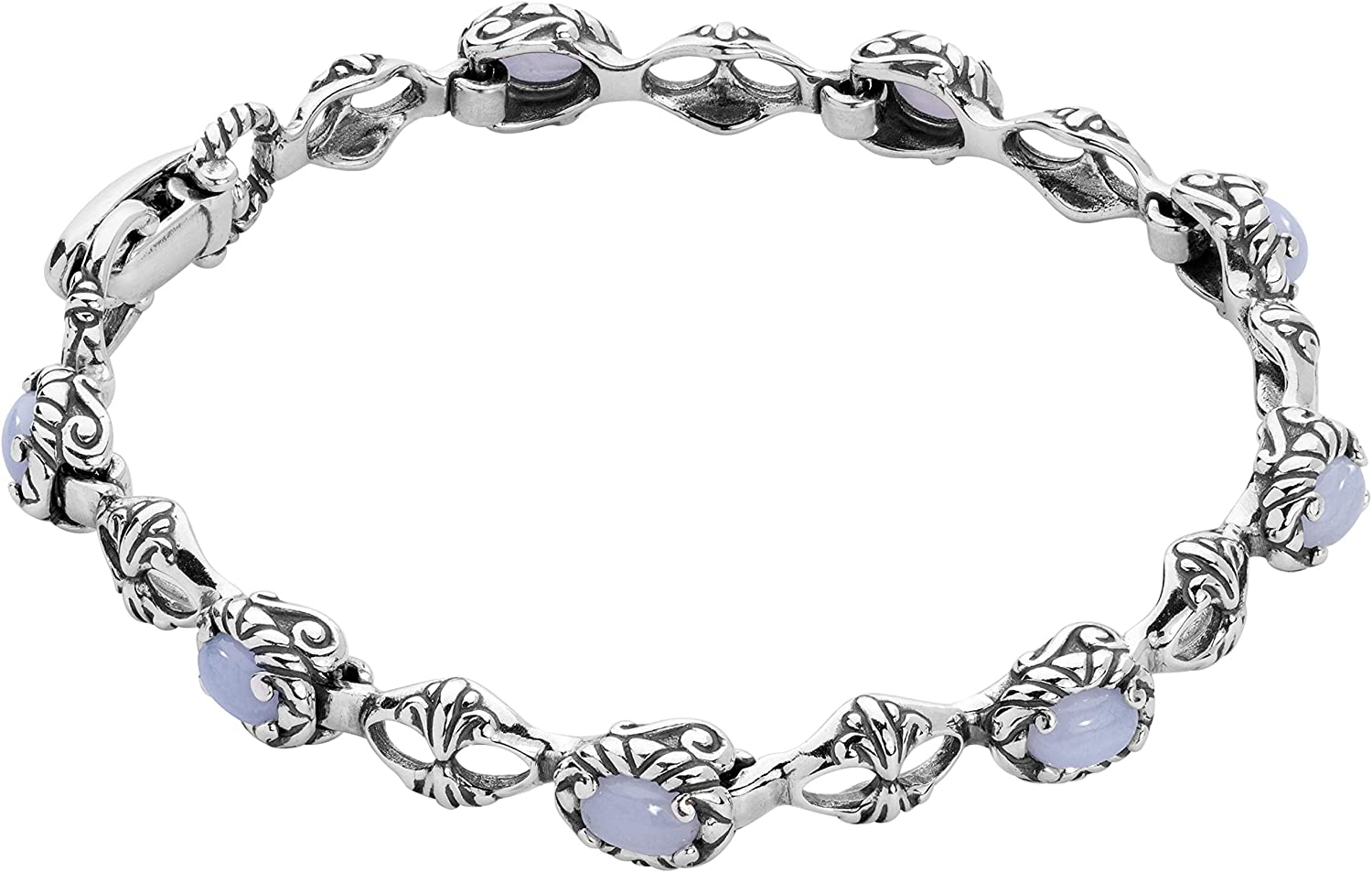 Carolyn Pollack Sterling Silver Gemstone Tennis Bracelet Choice of Gemstone Colors Sizes S, M or L