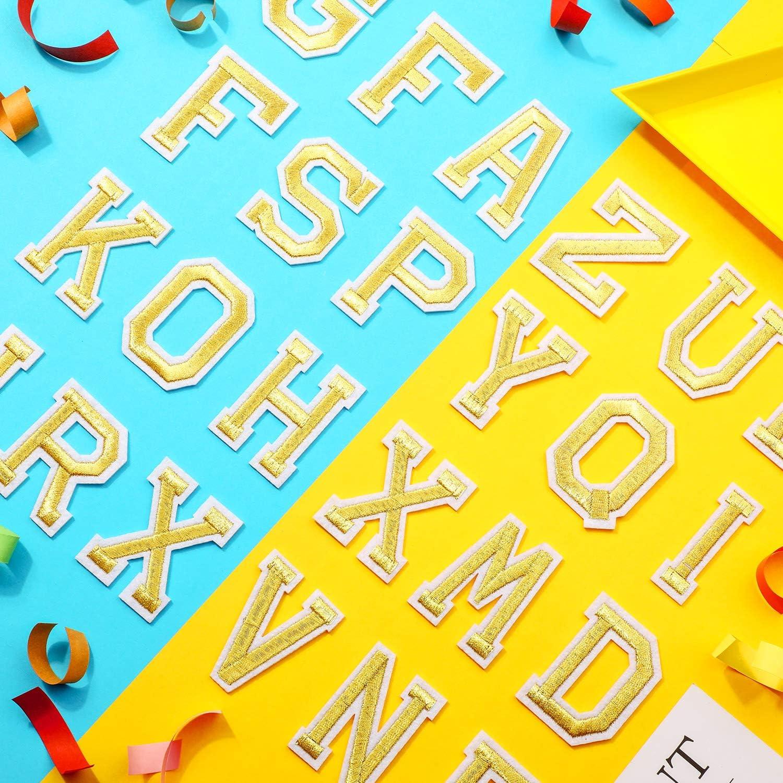 WILLBOND 52 St/ücke Brief Eisen auf Aufn/äher Ann/ähen Alphabet Applikation mit Geb/ügelt Klebstoff Buchstaben A-Z Gestickt Dekorative Reparatur Aufn/äher f/ür Schuhe Hut Tasche Kleidung Zubeh/ör Gold