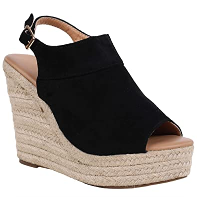 03095e90df46 Syktkmx Womens Espadrille Platform Wedge Peep Toe Ankle Strap Mid Heel  Suede Sandals
