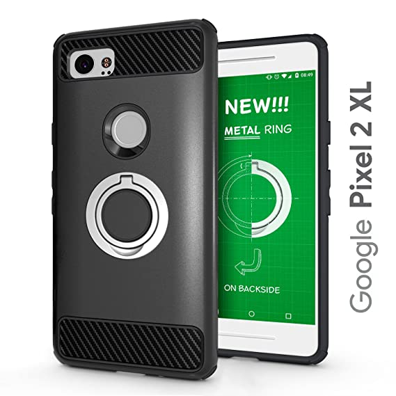 buy online 7ac56 5d374 Google Pixel 2 XL Protective Case Updated with Metal Stand Ring - Google  Pixel 2 XL Heavy Duty Phone Case - Google Pixel 2 XL Rugged TPU Cover - ...