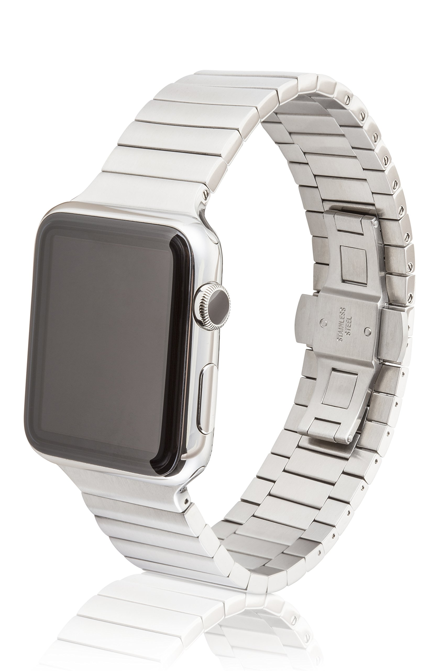 38mm JUUK Revo Premium Apple Watch band, made with Swiss quality using only the highest grade solid 316L stainless steel with a satin brushed finish and solid steel butterfly deployant buckle