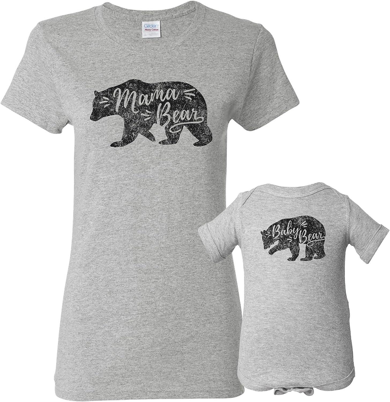 Mama Bear Baby Bear - Cute Womens T Shirt & Infant Creeper Bundle