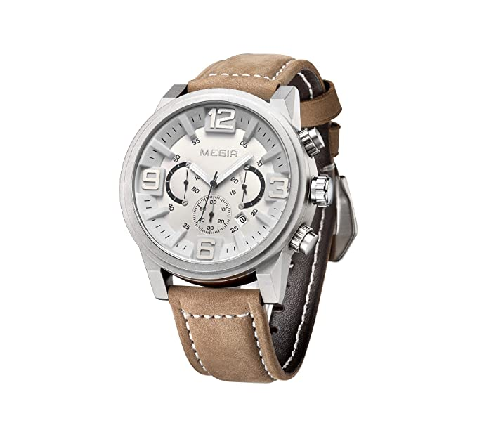 53e95ed888ac Megir relojes hombre Top marca de lujo lumimous reloj para hombre  cronógrafo resistente al agua cronómetro watch-white  Amazon.es  Relojes