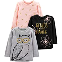 Simple Joys by Carter's Graphic Long-Sleeve Tees Niñas, Pack de 3