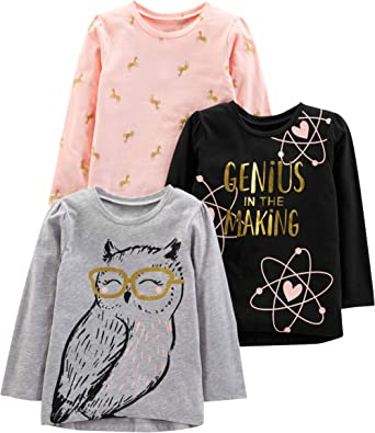 Zerototens Boys Girls 3PC Cartoons Printing Shirt Long Sleeve T-Shirt Crew-Neck Pullover Toddler Kids Baby Casual Cotton Tops Tee Clothes