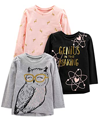 6592c440 Simple Joys by Carter's Girls' Toddler 3-Pack Graphic Long-Sleeve Tees,