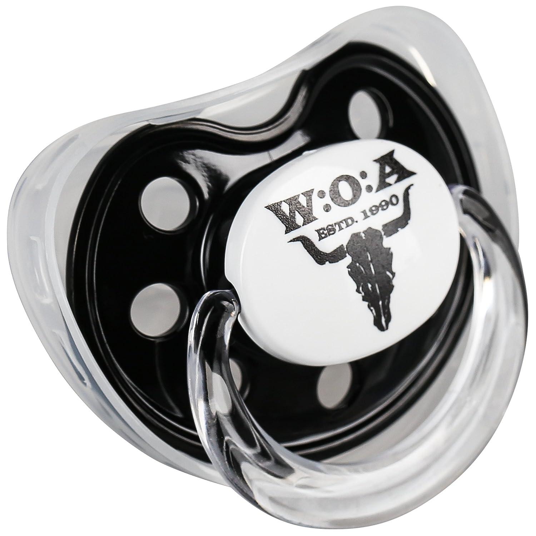 W:O:A – Wacken Open Air Chupete en caja, chupete ortodóntico de silicona con el cráneo del WACKEN, incluye una tapa higiénica y una caja para ...
