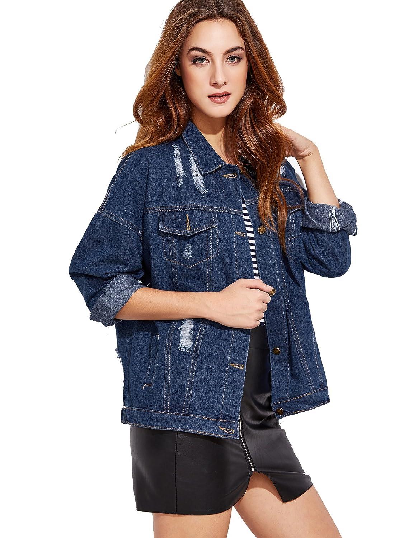 963365a1a2 Details about Outerwear Windbreaker Fashi Women's Casual Ripped Plain  Button Down Denim Jacket