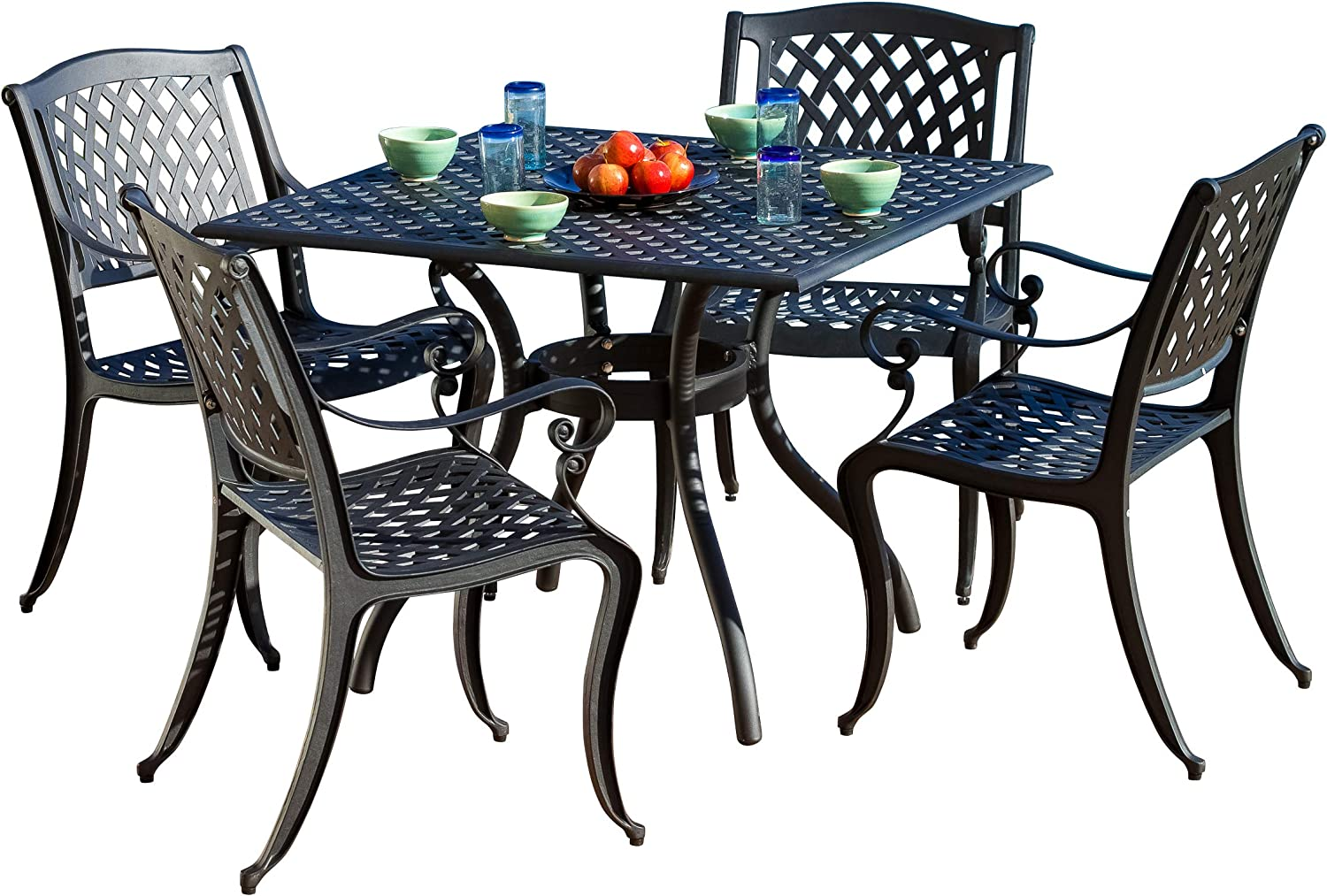 Christopher Knight Home Hallandale Cast Aluminum Outdoor Dining Set 5 Pcs Set Black Sand Garden Outdoor