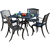 Christopher Knight Home Hallandale Cast Aluminum Outdoor Dining Set, 5-Pcs Set, Black Sand