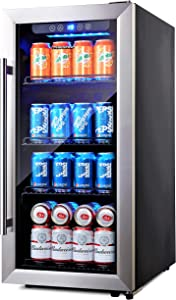 Phiestina PH-CBR100SP 100 Can Compressor Beverage Cooler Air-Cooled Refrigerator Stainless Steel & Glass Door with Handle