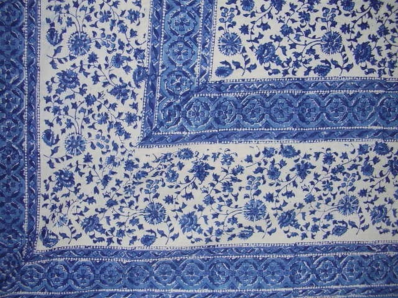 Rajasthan Block Print Tapestry Cotton Spread 106 x 70 Twin Blue