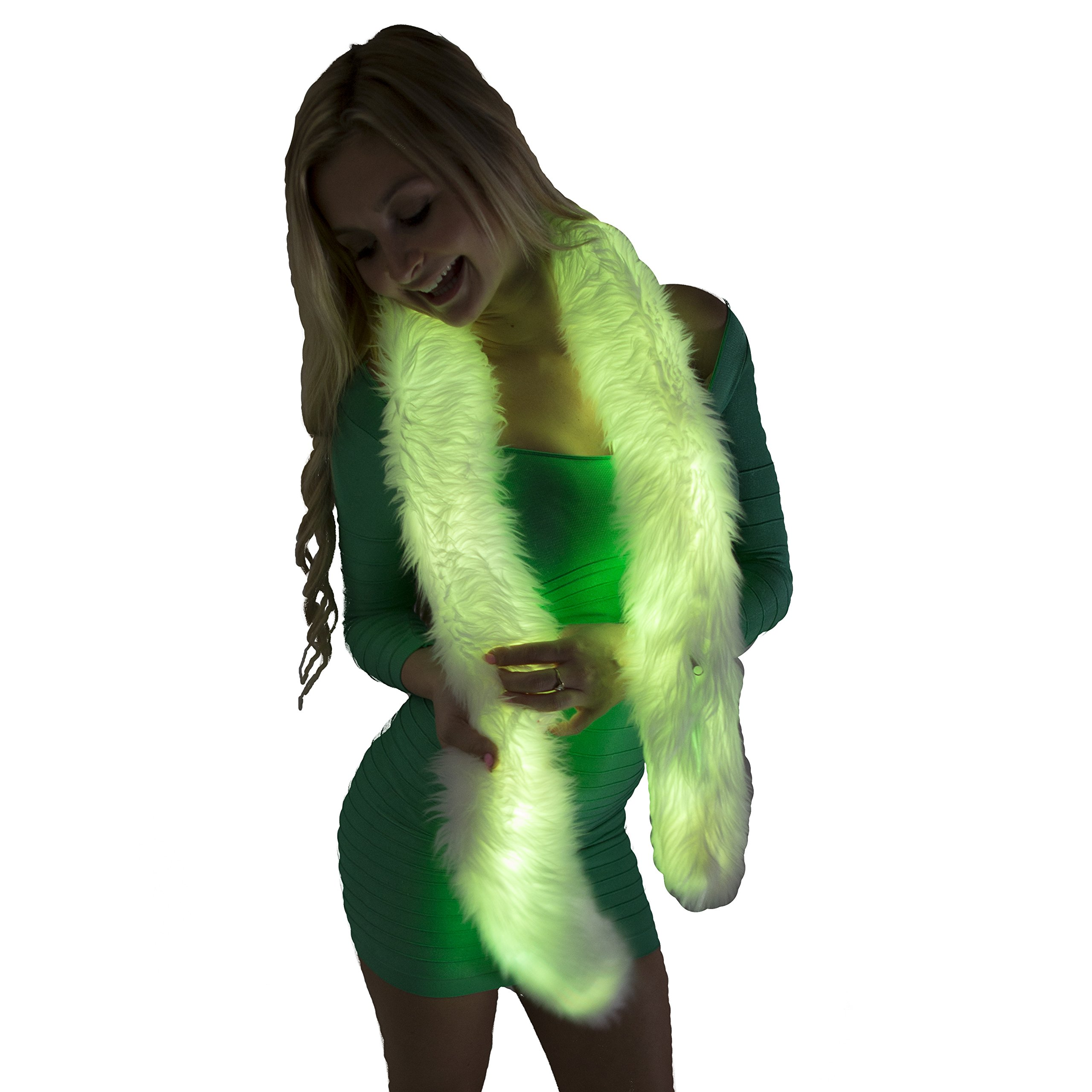 Electric Styles Light Up Fur Boa - All-White Fur with LED Lighting (Color Changing)