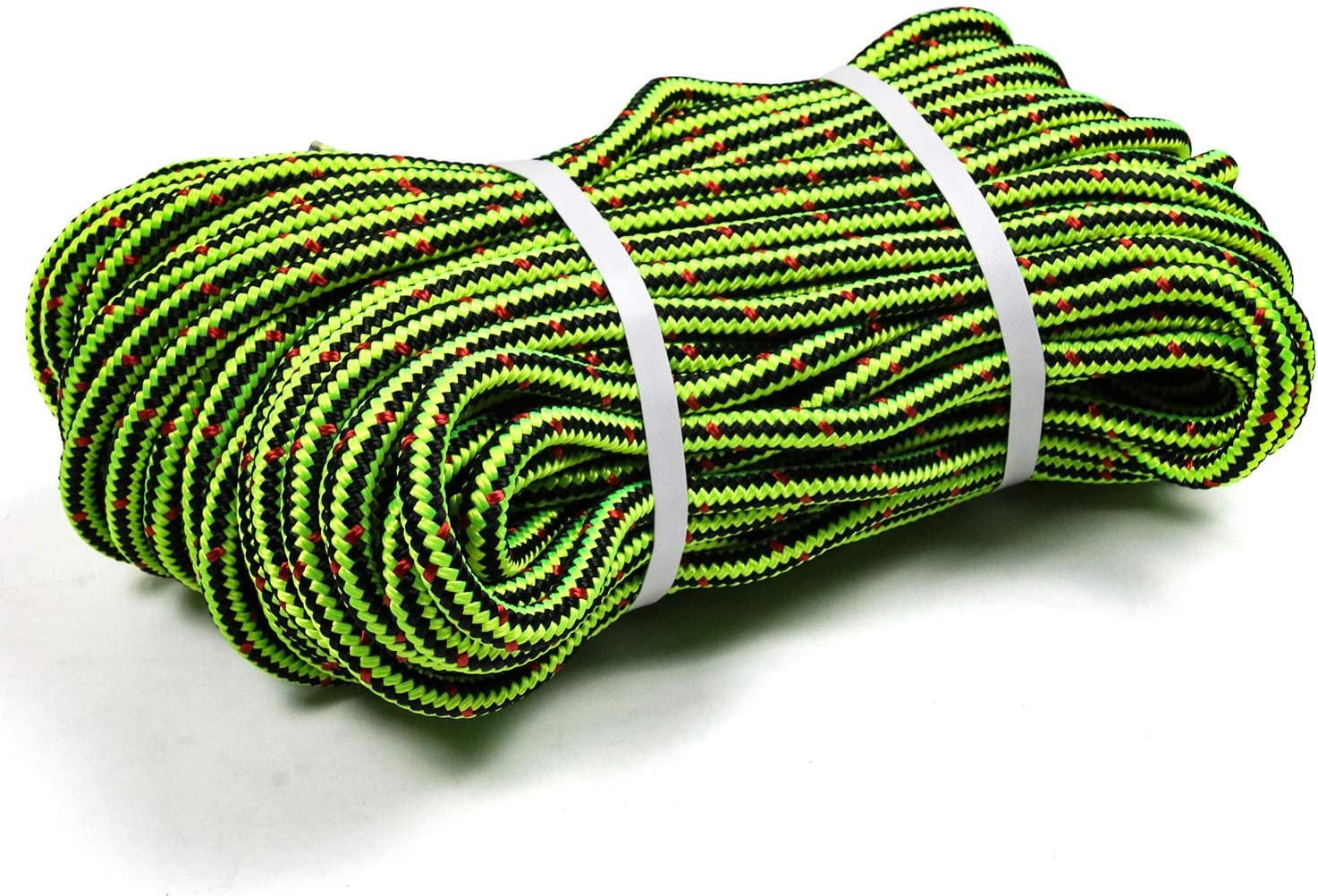 "Perantlb 16 Strand Arborist Climbing Rope, UV Resistant and Weather Resistant Double Braided Boat rope1 / 2""by 150 'Black with Green"