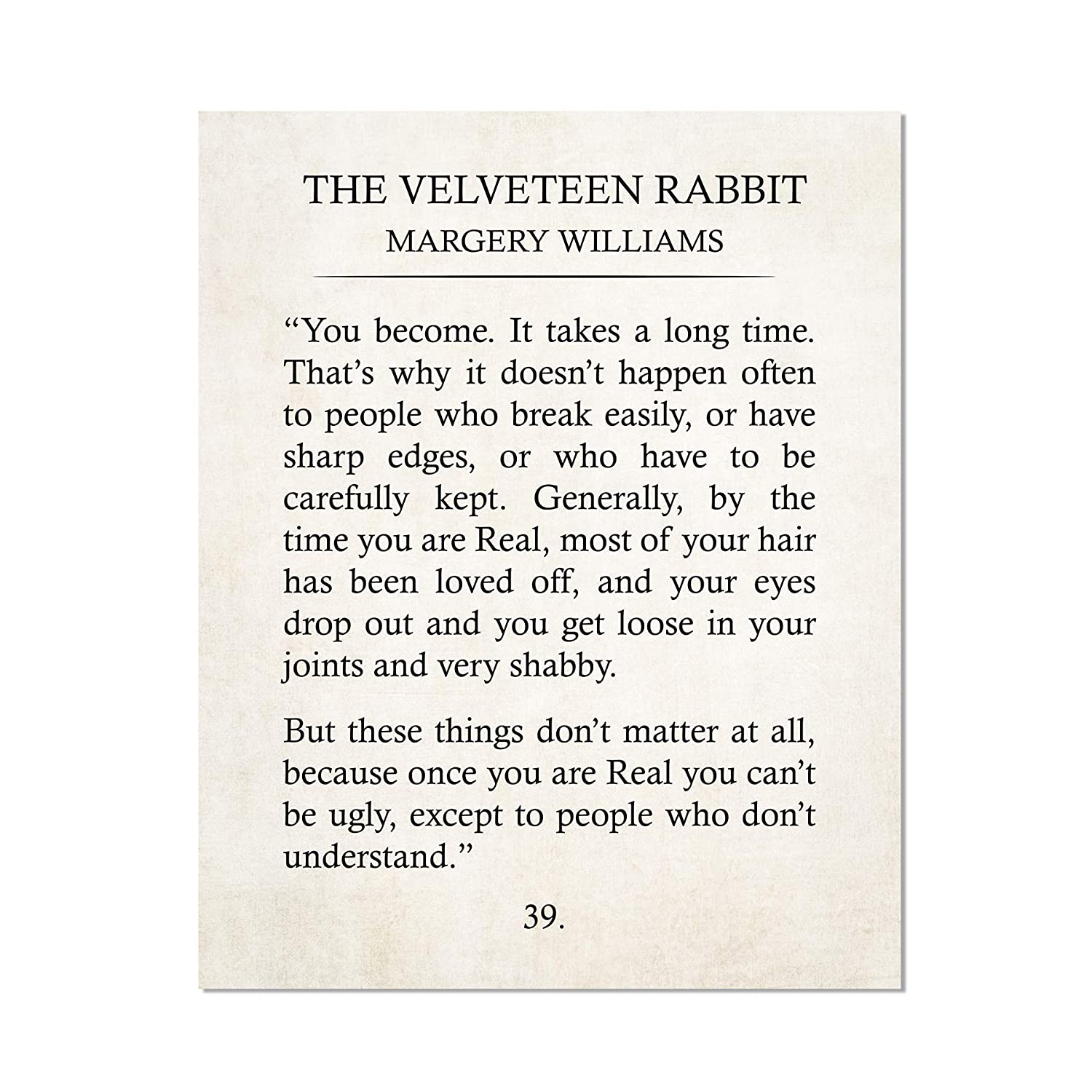 Amazon.com: Velveteen Rabbit Quote Print Your Become Margery ...