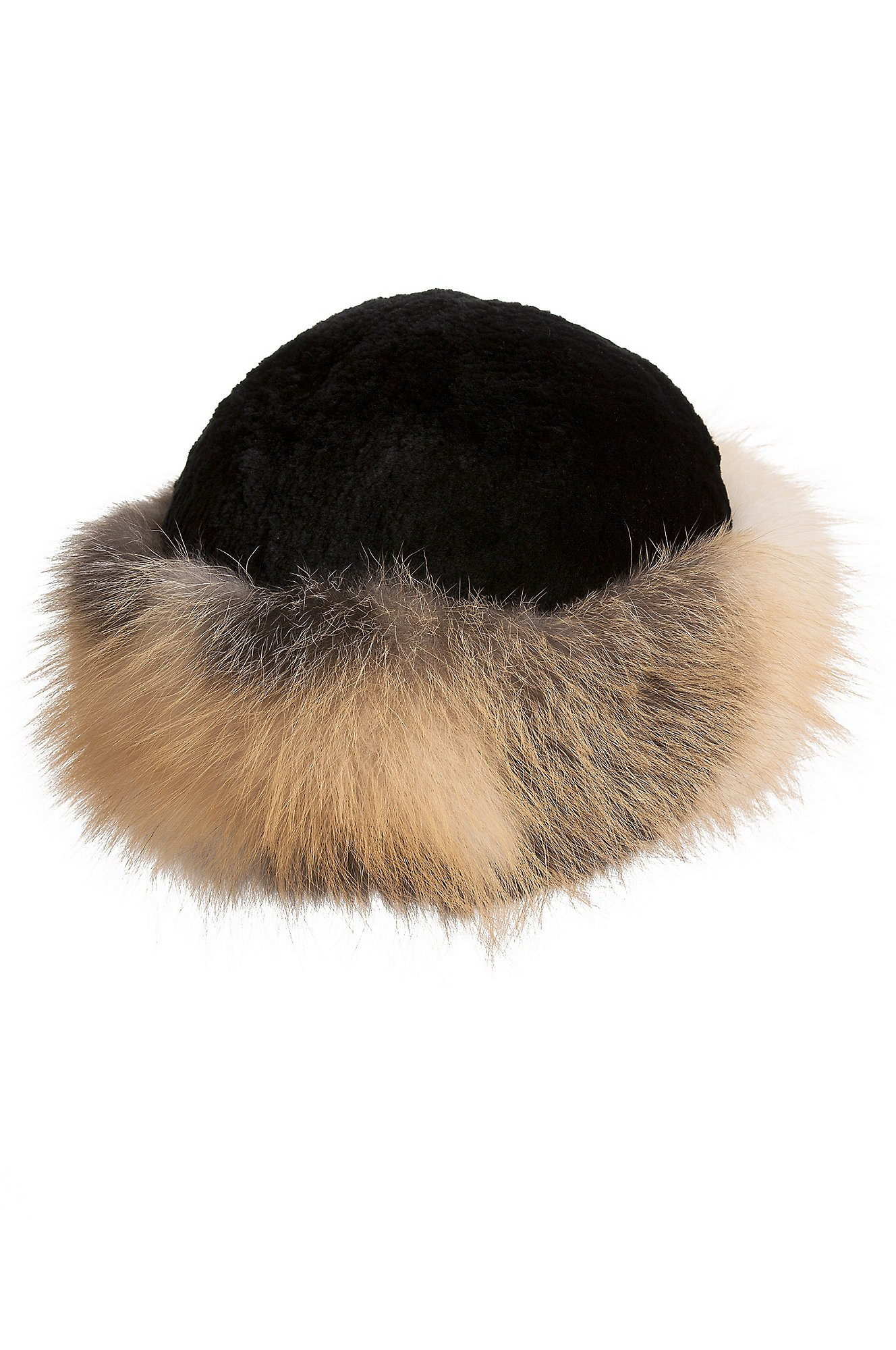 Sheared Beaver Fur Cossack Hat with Fox Fur Trim by Overland Sheepskin Co