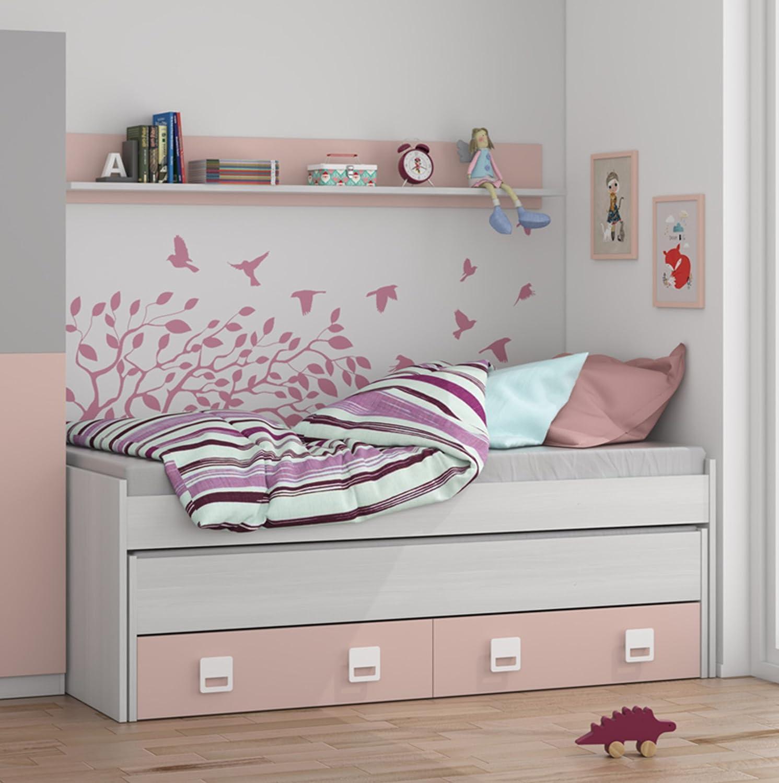 cama nido con cajones y estantera incluida color blanco y rosa paste conjunto dormitorio infantil