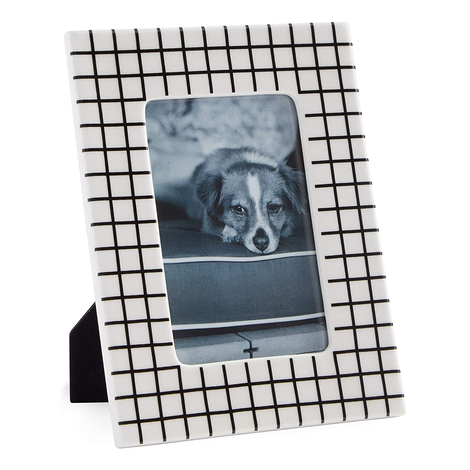 "Now House by Jonathan Adler Grid Frame, 4"" x 6"", Black and White"