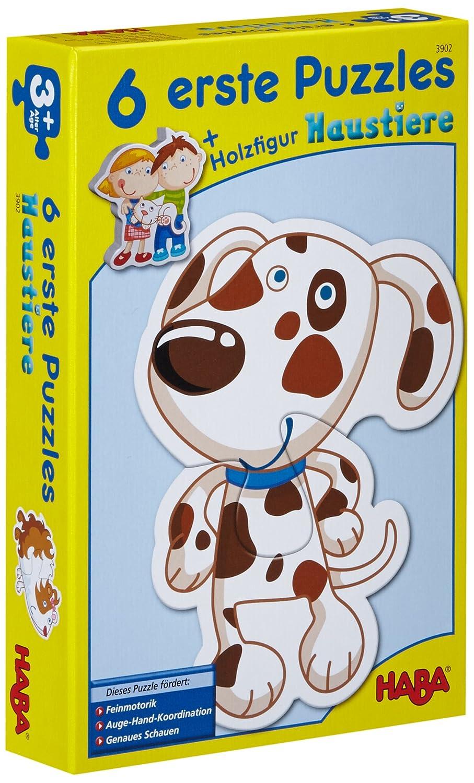 Haba 3902 - 6 Erste Puzzles, Haustiere, Puzzle mit 6 niedlichen Tiermotiven für Kinder ab 2 Jahren, mit Holzfigur zum freien Spiel B002LDVUCQ Kinderpuzzles Spiele für Drinnen empfohlenes Alter: ab 3 Jahre
