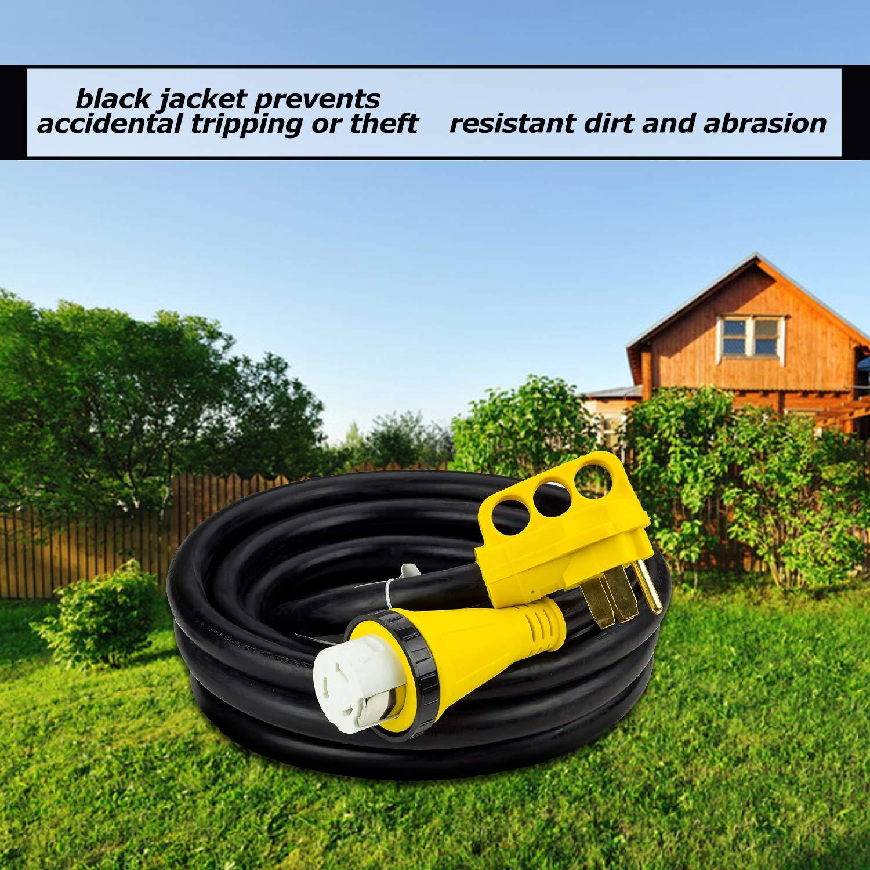 Trek Power RV Extension Cord 50Amp 30FT For Trailer Motorhome Camper with Grip Handle Plug, Locking Connector, Black by Trek Power (Image #4)