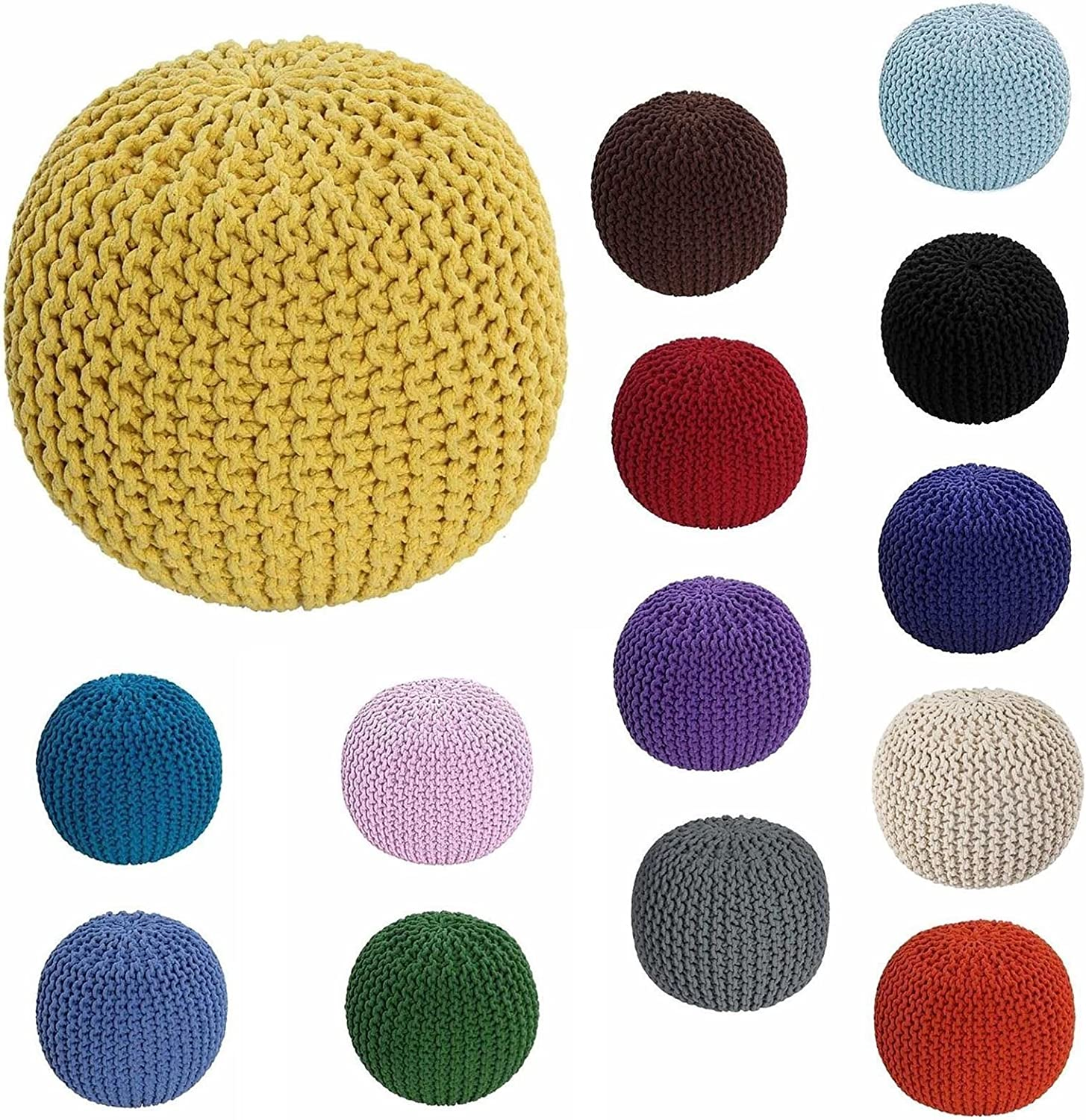 Artistic Fashionista Luxurious Cushioning Comfort And Plush Durability 100% Cotton Handmade KNITTED OTTOMAN POUFFE Foot Stool Seat Suitable For Children And Adults (Cream) Purple