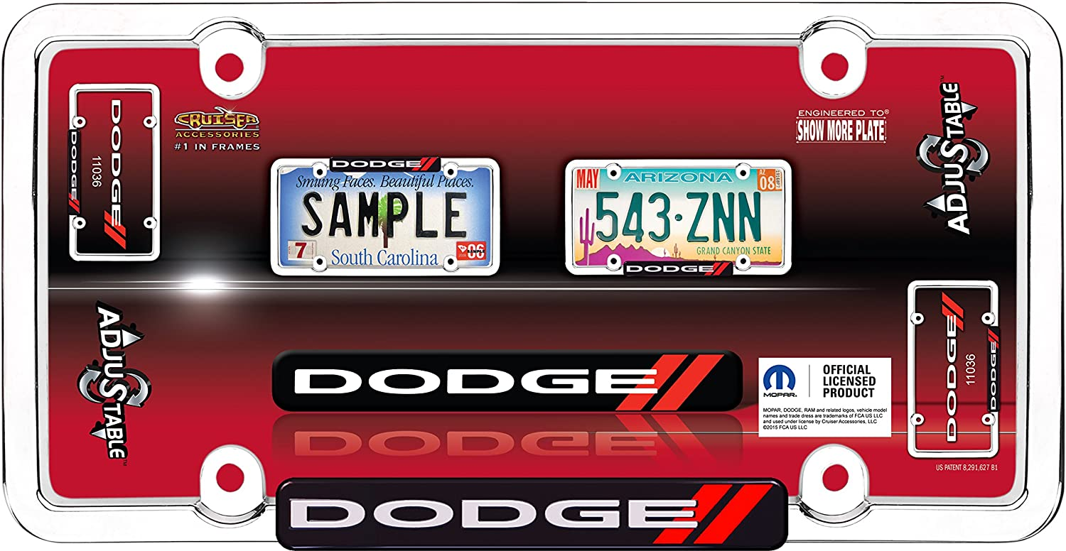 Chrome//Red Cruiser Accessories 11036 Dodge License Plate Frame