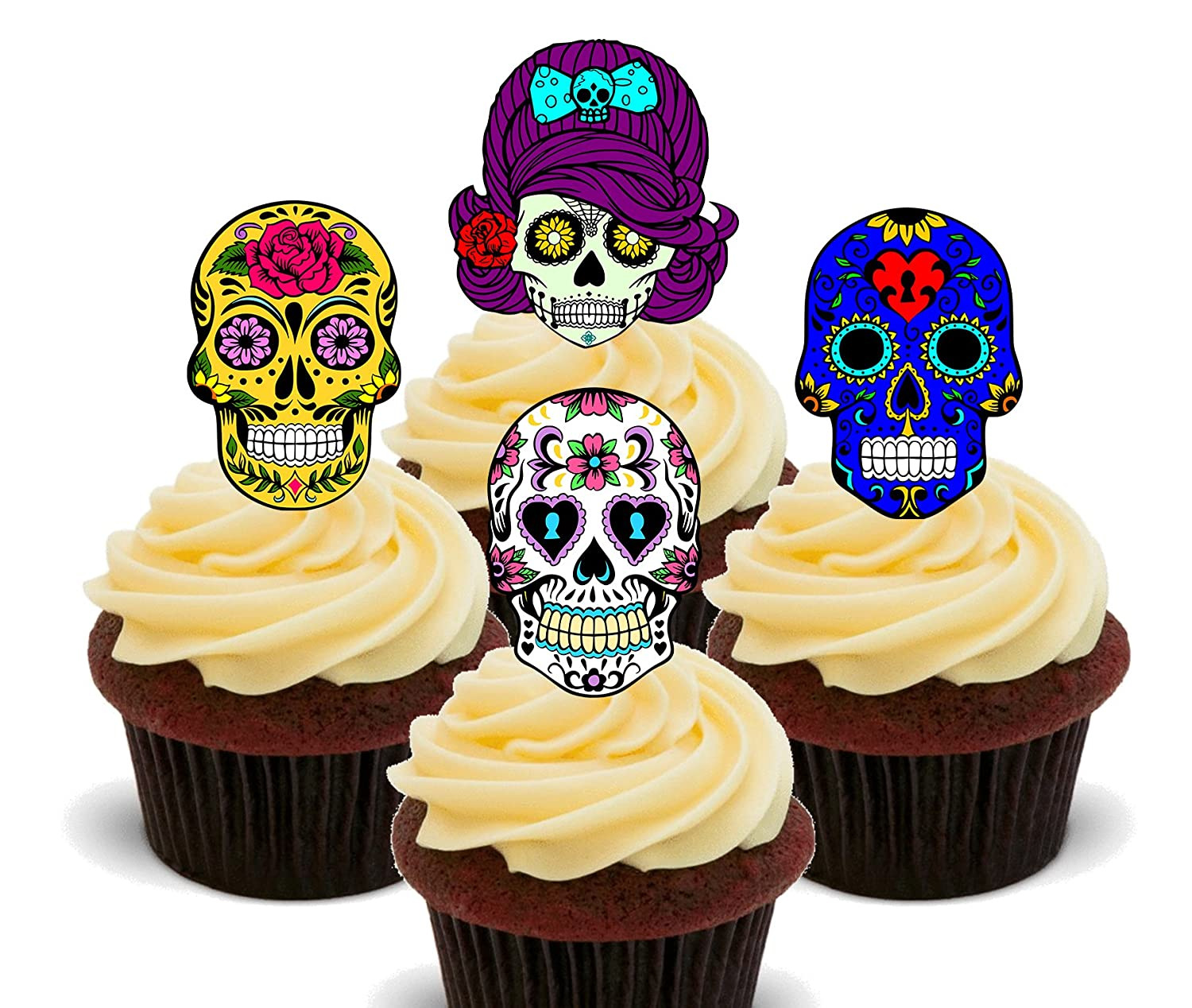 Sugar Skulls - Edible Cake Decorations- Stand-up Wafer Cupcake ...
