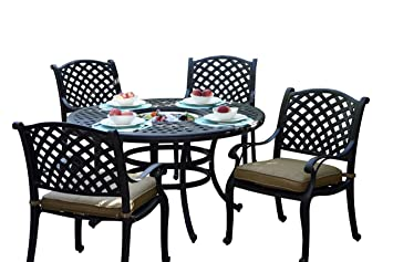Amazoncom Darlee Nassau Cast Aluminum Piece Dining Set With - 52 inch round outdoor dining table