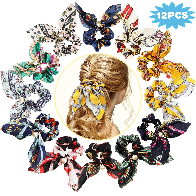 12 Pcs//Set Women Girls Elastic Hair Bands Bowknot Faux Pearl Hair Accessories