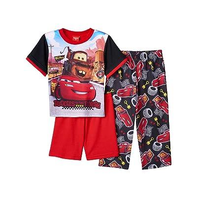 Disney Cars Lightning McQueen Tow Mater Boys 3 Piece Pajamas PJ Set (Toddler)