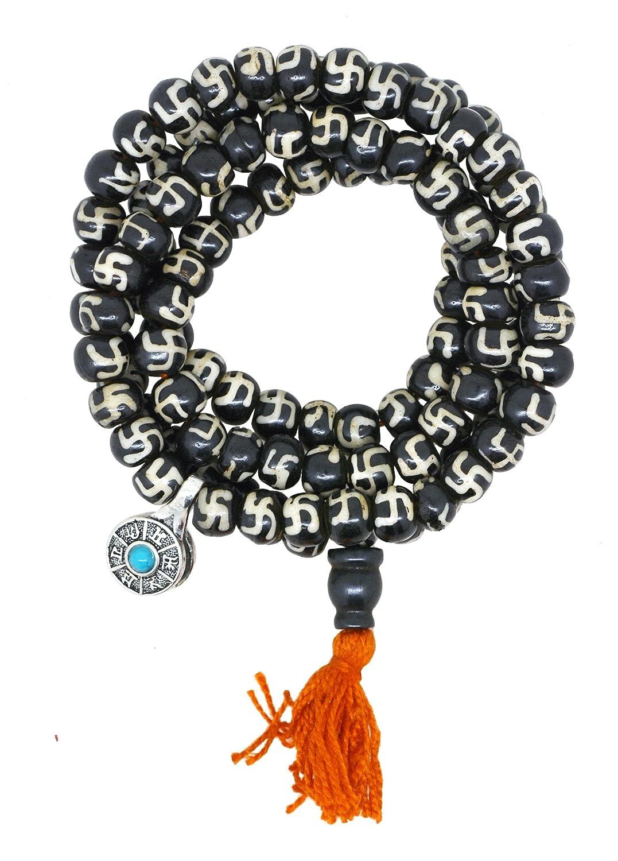 Mandala Crafts Meditation Bent Cross Yak Bone 108 Prayer Beads Mala Necklace with a Charm