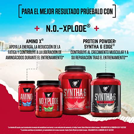 BSN Nutrition NO-Xplode, Suplementos Deportivos Pre Workout en Polvo con Creatina Monohidrato, Cafeina, Beta Alanina, Vitamina D y Vitamina B Complex, ...