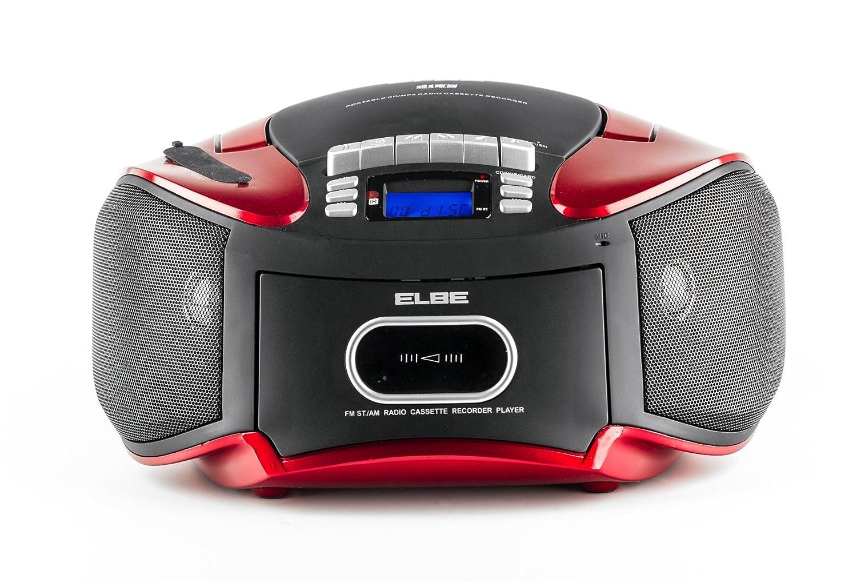 Elbe CDM-265-USB - Radiocasete con CD, MP3, USB y SD, mando a distancia, color rojo y negro: Amazon.es: Electrónica
