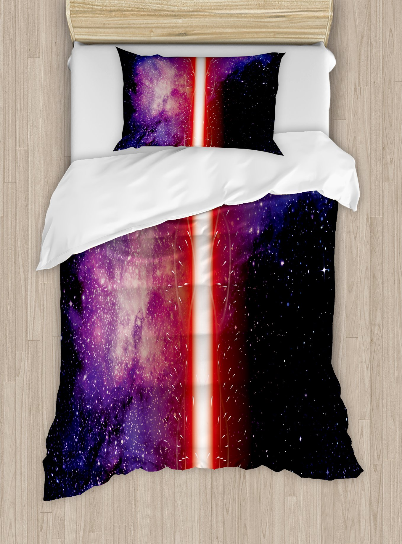 Ambesonne Galaxy Duvet Cover Set Twin Size, Famous Movie Prop Fantastic Galaxy Theme Between Enemies Theme Stripe Illustration in Red, Decorative 2 Piece Bedding Set with 1 Pillow Sham, Black